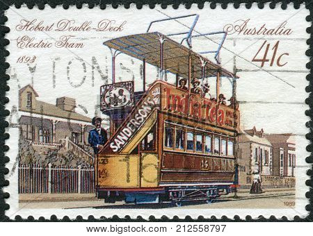Australia - Circa 1989: Postage Stamp Printed In Australia Shows Hobart Double-deck Electric Tram (1