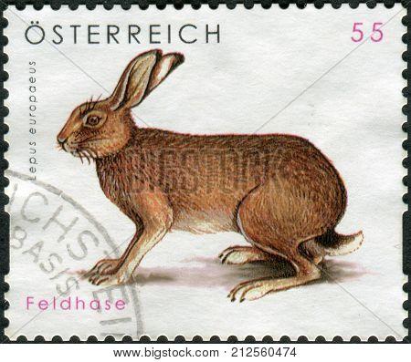 Austria - Circa 2008: Postage Stamp Printed In Austria, Shows The European Hare (lepus Europaeus), C