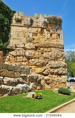 A view of Minerva Tower in monumental roman walls in Tarragona, Spain poster