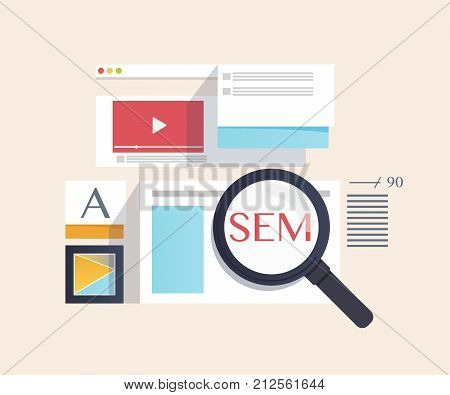 concept of SEM - Search Engine Marketing,digital marketing, creative business internet strategy and market promotion development.