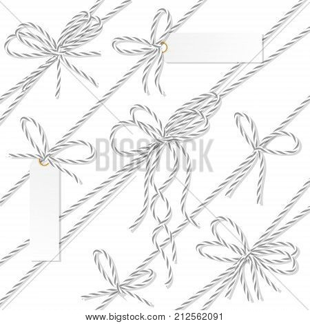 Set of gray rope bakers twine bows, ribbons and tag labels on white background