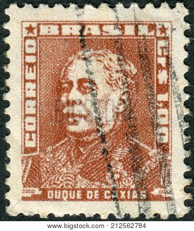 Brazil - Circa 1956: Postage Stamp Printed In Brazil, Shows A Military Officer, Politician And Monar