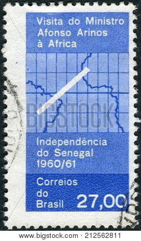 Brazil - Circa 1961: Postage Stamp Printed In Brazil, Dedicated Visit Of Afonso Arinos, Brazilian Fo