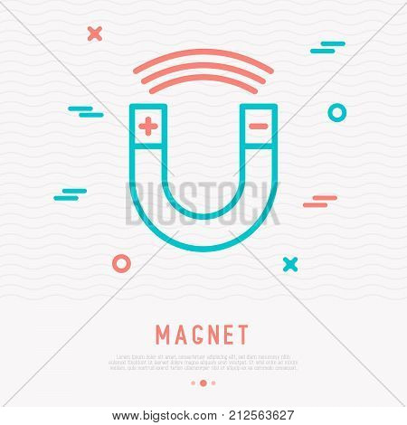 Magnet thin line icon. Modern vector illustration of science equipment.
