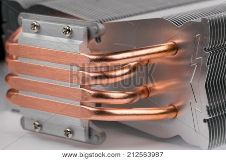 modern computer processor cooler or radiator or heat sink, close up