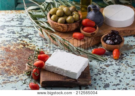 Traditional Set Of Greek Mezze