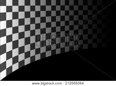 Checkered flag curve on black gradient design sport race championship background vector illustration.