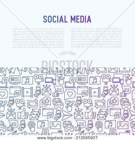 Social media concept with thin line icons: of thumbs up, share, link, send e-mail, music, stream, comments. Vector illustration for banner, web page, print media.