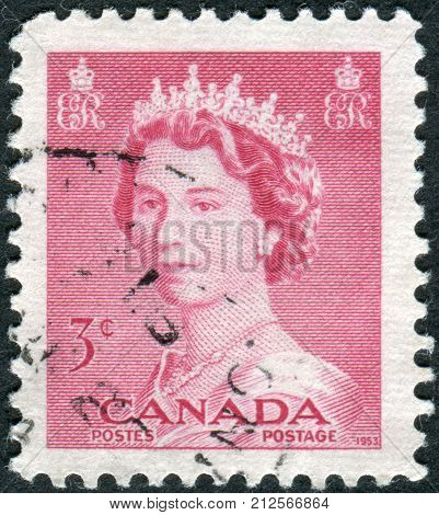 CANADA - CIRCA 1953: Postage stamp printed in Canada shows portrait of Queen Elizabeth II circa 1953