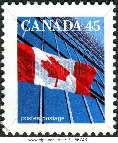 Canada - Circa 1995: Postage Stamp Printed In Canada Shows The National Flag, Circa 1995