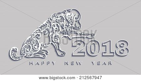 happy new year 2018 the year of the dog. 3d effect Vector white paper origami design. Design elements for holiday cards.