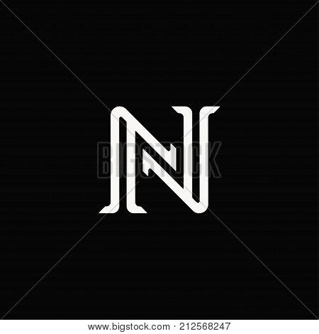 Linear N Letter Logo Sign Vintage Design.