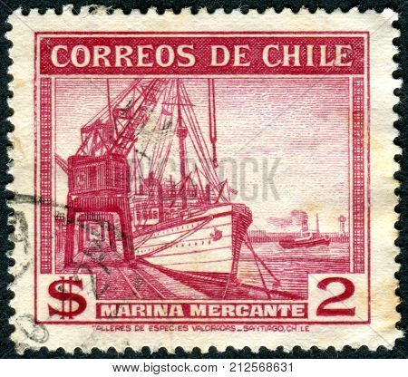 CHILE - CIRCA 1939: Postage stamp printed in Chile shows steamship merchant fleet