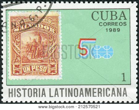 CUBA - CIRCA 1989: Postage stamp printed in Cuba shows the stamp of Salvador in 1892 (The landing of Christopher Columbus) circa 1989