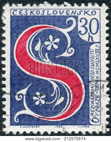 CZECHOSLOVAKIA - CIRCA 1968: Postage stamp printed in Czechoslovakia is devoted to the 6th International Congress of Slavic Studies shows the letter S - the symbol of Congress circa 1968