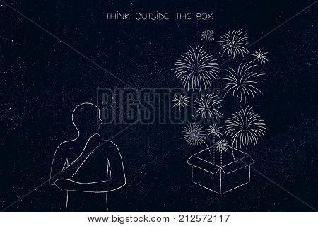 Person Next To Box With Fireworks, Think Outside The Box