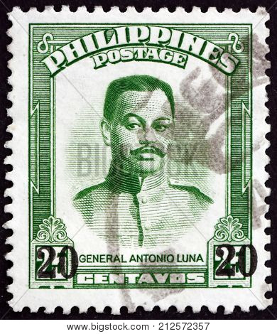 PHILIPPINES - CIRCA 1962: a stamp printed in Philippines shows Antonio Luna Filipino general circa 1962