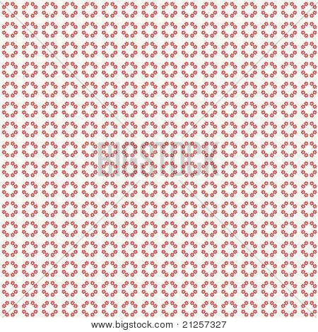 Red Flowers Circle Pattern Background