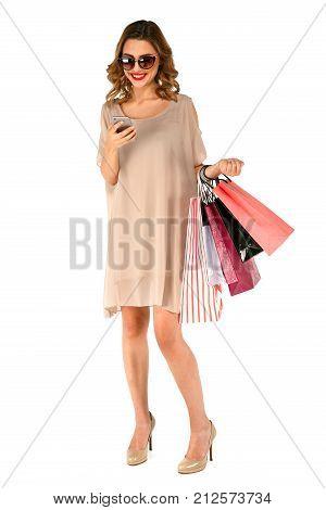 Beautiful Shopper Woman Using App On Smartphone