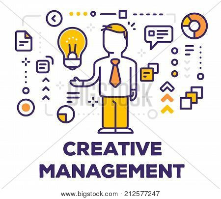 Vector Illustration Of A Man Manager With Yellow Light Bulb And Icons. Creative Management Concept O