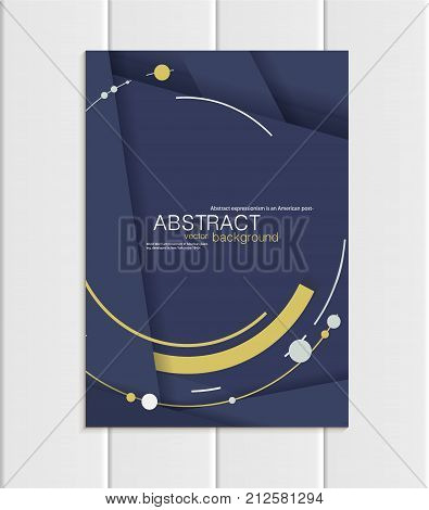 Stock vector brochure A5 or A4 format material design style. Design business templates with yellow abstract round shapes on navy backgrounds for printed material, element corporate style, card, cover