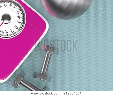 3D Rendering Of Dumbbells, Ball Nad Scale On Fitness Mat