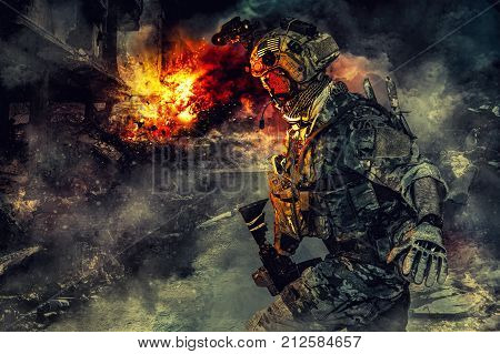 Army soldier in action. Great explosion with fire and smoke billows