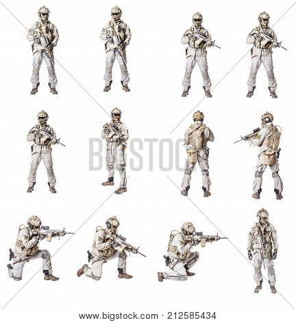 Set of Army soldier in Protective Combat Uniform holding Special Operations Forces Combat Assault Rifle. Knee pads, chest rig, military boots. Studio shot, isolated on white background