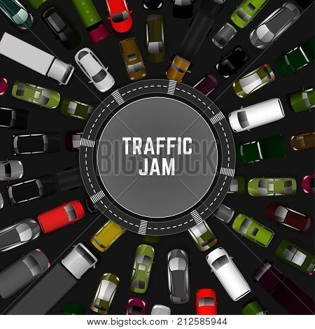 City traffic background with top view cars images. Editable vector illustration in modern flat style. Square layout useful for print, brochure, banner, leaflet or poster design. Automotive collection.