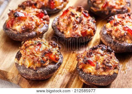 Baked Champignon Caps Stuffed With Minced Meat