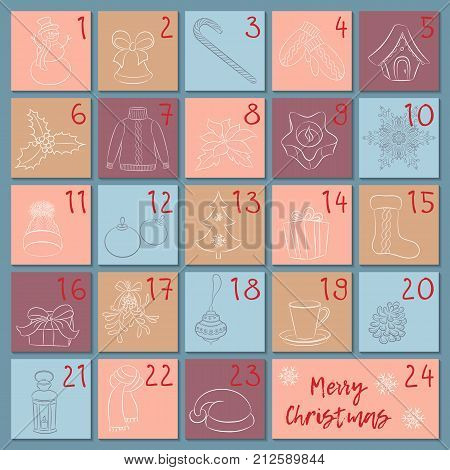 sketch christmas winter and new year symbols hand drawing