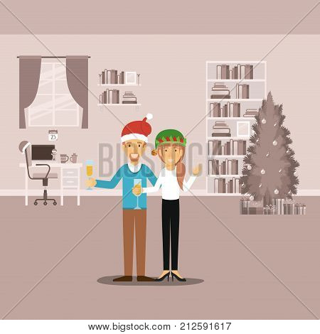 couple in formal clothes celebrating christmas with champagne and him with van dyke beard and red christmas hat and her with green christmas hat on colorful scene in home