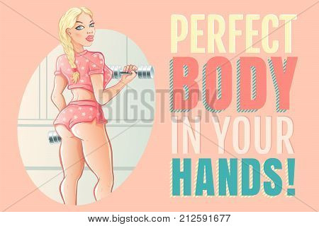Vector poster with fitness motivation in comics style. Vector poster with beautiful girl bodybuilder in gym and motivation.
