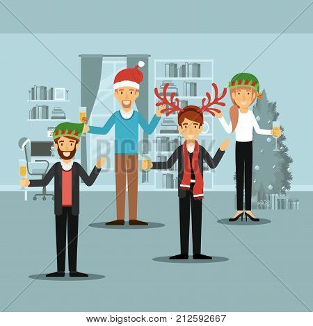 men group and woman in formal clothes celebrating christmas with champagne and all with christmas hats and one man with scarf and reindeer horns christmas hat on colorful scene in home vector illustration
