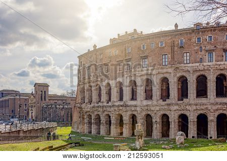 The Ancient Roman Theatre Of Marcellus In Rome