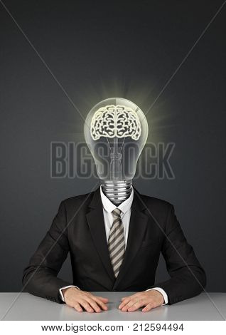Businessman on black with light bulb instead of head great ideas concept