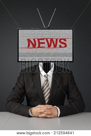 man with tv head mass media propaganda concept