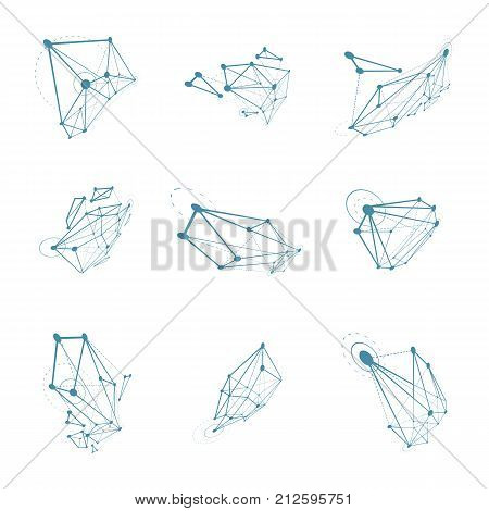 Set of abstract 3d faceted figures with connected lines. Vector low poly design elements collection scientific concept. Cybernetic technology shapes with grid and lines mesh.