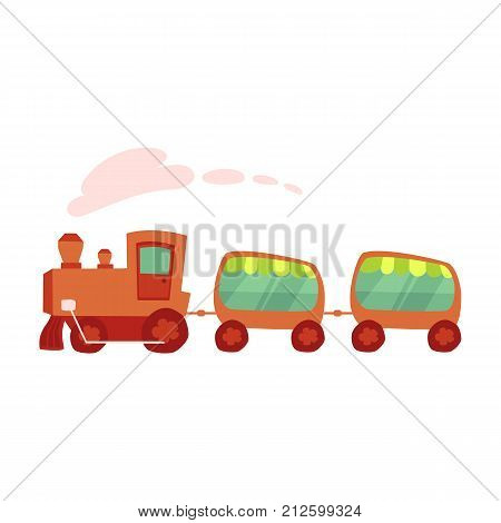 Colorful cartoon amusement park train ride, vector illustration isolated on white background. Cartoon style illustration of train ride, amusement park element