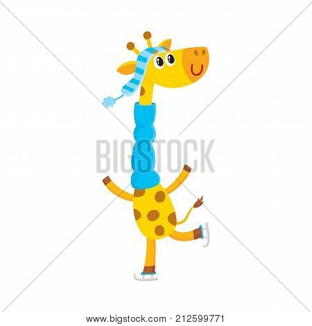 Cute little giraffe character ice skating in hat and scarf, winter activity, cartoon vector illustration isolated on white background. Little baby giraffe animal character ice skating in winter