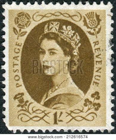 United Kingdom - Circa 1953: Postage Stamp Printed In Uk Shows Queen Elizabeth Ii, Circa 1953