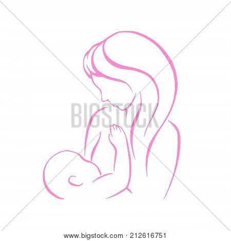 Breast feeding vector sign. Mother holding newborn baby in arms, abstract symbol of woman breastfeeding baby.