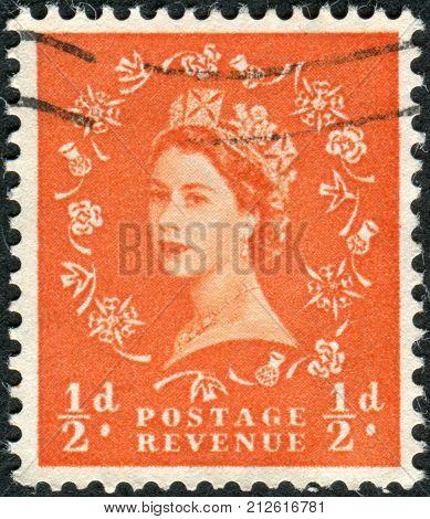 United Kingdom - Circa 1956: Postage Stamp Printed In Uk Shows Queen Elizabeth Ii, Circa 1956