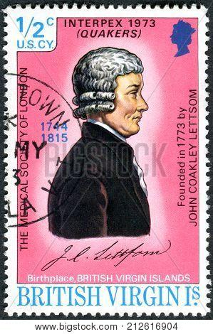 BRITSH VIRGIN ISLANDS - CIRCA 1973: Postage stamp British Virgin Islands shows Dr. John Coakley Lettsome circa 1973