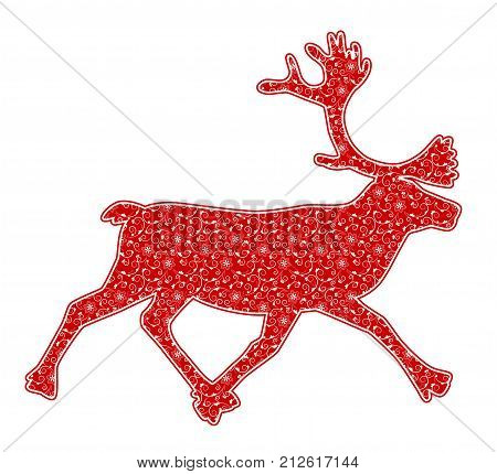 vector christmas reindeer with floral pattern isolated on white background