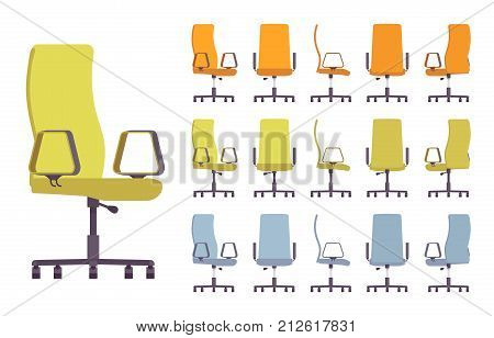 Office chair interior set. Computer furniture seat, ergonomic design. Different colors, positions. Vector flat style cartoon illustration isolated on white background