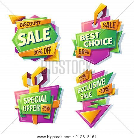 Vector cartoon sale banners, badges, stickers, tags for a big holiday sale, black Friday, special offer, best choice, exclusive sale. Template of advertising design in green, purple, yellow colors