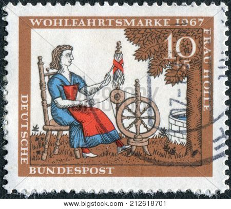 GERMANY - CIRCA 1967: Postage stamp printed in Germany shows the illustration of the Brothers Grimm tale