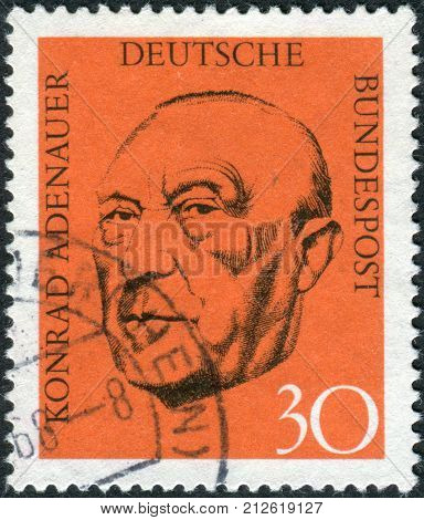 GERMANY - CIRCA 1968: Postage stamp printed in Germany shows the first post-war German Chancellor Konrad Adenauer circa 1968