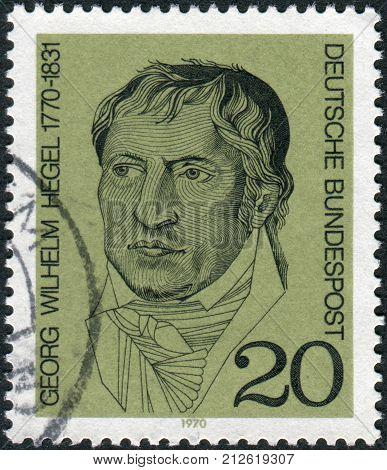 GERMANY - CIRCA 1970: Postage stamp printed in Germany shows a German philosopher and a major figure in German Idealism Georg Wilhelm Friedrich Hegel circa 1970
